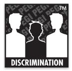 Logo du classement PEGI où figure le mot: discrimination