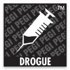 Logo du classement PEGI comportant le mot: drogue
