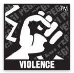 Logo du classement PEGI comportant le mot: violence