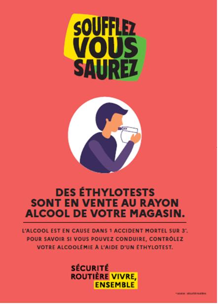 Affiche vente à emporter de l'alcool, dans le rayon alcool du magasin