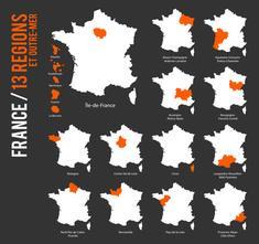Représentation de la carte de France des régions de métropole et d'outre-mer