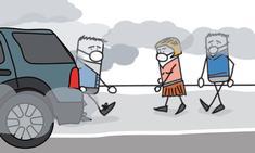 pollution voiture et personnes avec un masque