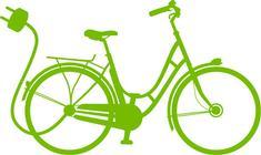Vélo vert électrique avec une prise