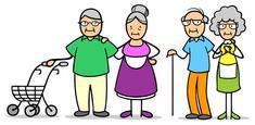 Dessin de deux couples de seniors