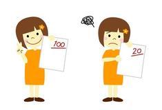 Dessin représentant deux petites filles, l'une joyeuse avec une note de 100, l'autre triste avec une note de 20.
