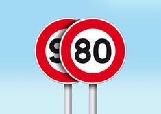 Panneaux de signalisation limitation vitesse 80 Km/h et limitation vitesse 90 Km/h