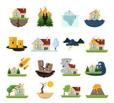symboles illustrés concernant les risques naturels